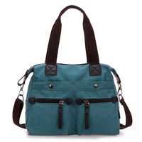 Practical washable canvas bag sturdy large capacity multi pocket mobile handbags casual European and American fashion shoulder M