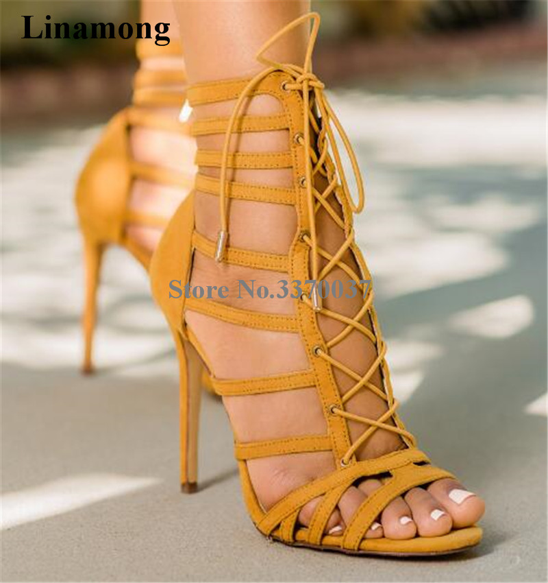 все цены на Women Summer New Fashion Open Toe Suede Leather Lace-up Gladiator Sandals Cut-out Thin Straps High Heel Sandals Dress Shoes
