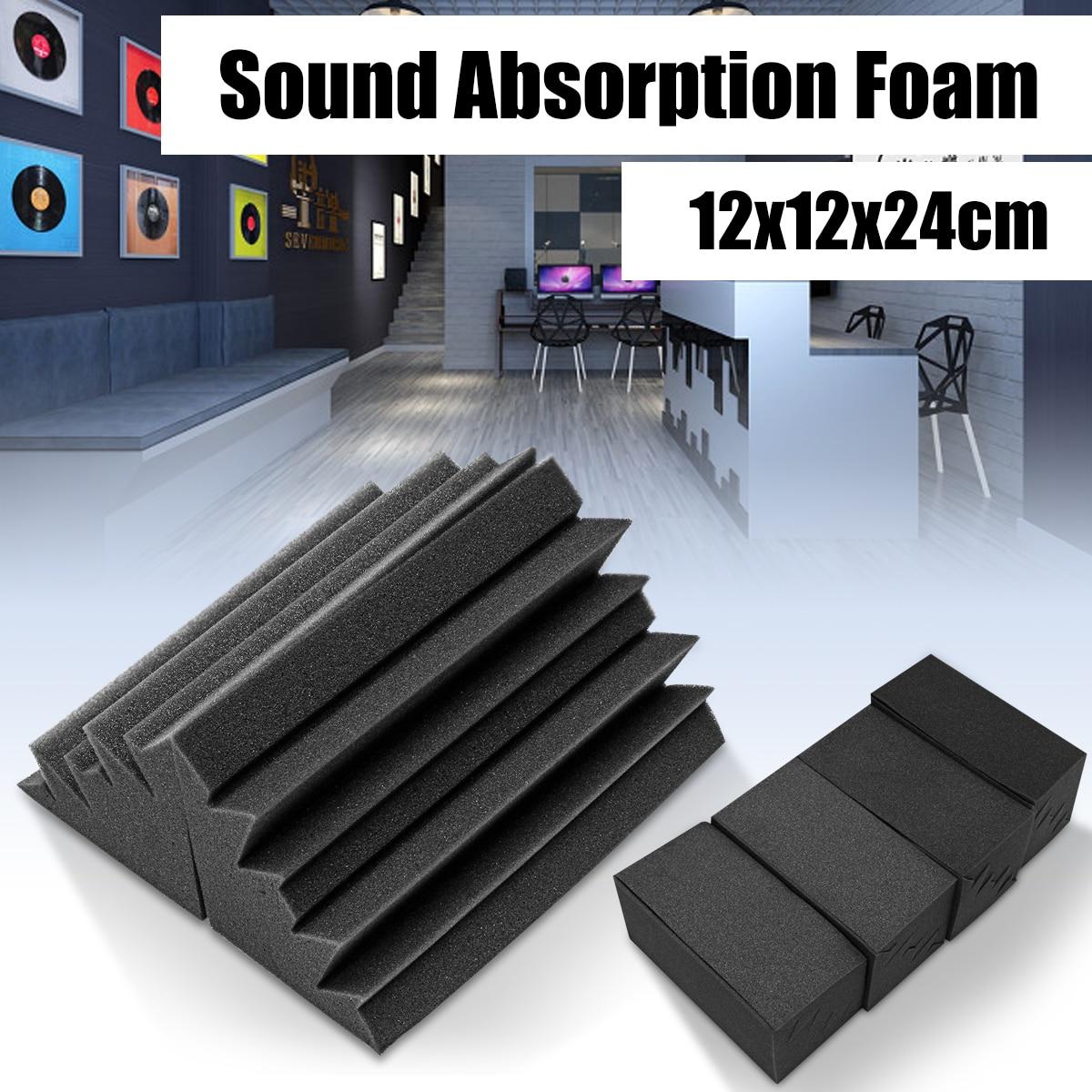 8Pcs 12x11x24cm Soundproofing Foam Acoustic Foam Noise Sound Treatment Studio Room Absorption Wedge Tiles Polyurethane foam 12x soundproofing foam acoustic absording treatment foams home wall car wedge tiles studio foam ktv studio noise sponge foam us