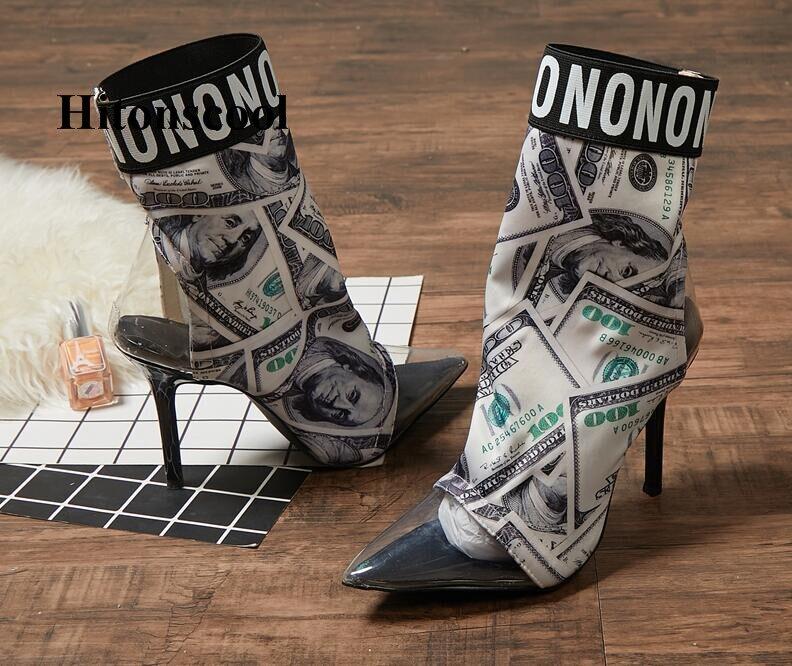 Chaussettes Pointu Imprimer Femmes Femme Bottines Pvc Stretch Talons Hauts Bottes Chaussures Stilettos Mode Courtes De Gris Dollar Bout dvtqwxt