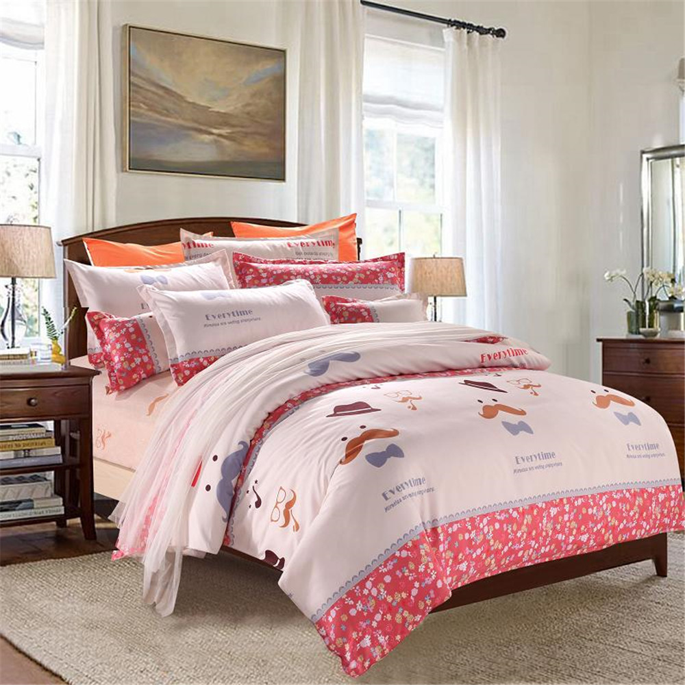 Kids Pinku0026Red Printed Floral Bedding Sets Twin/Queen/Double/King Size  Moustache Cartoon Quilt/Duvet Cover Bed Sheet Pillowcase