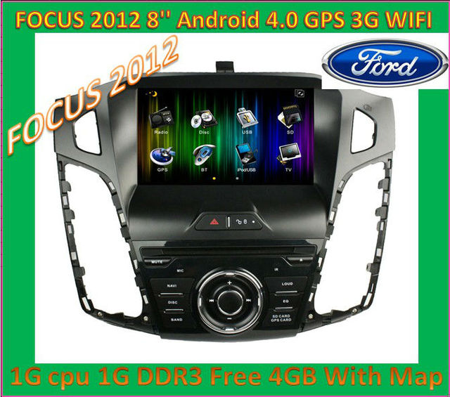 2013 wholsale New 8'' touch screen Android 4.0 1G CPU DDR3 Car DVD Player For Focus 2012 Can Bus GPS dongle ATV MIC 3G WIFI