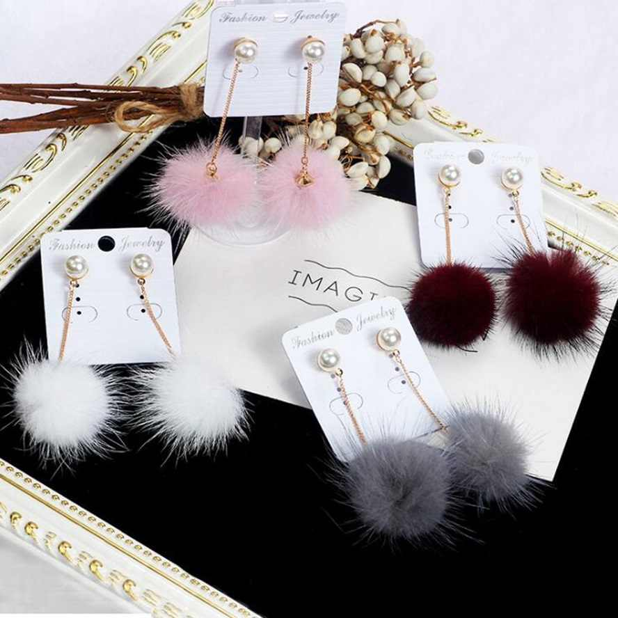 2018 Pearl Cute Rabbit Fur Ball PomPom Long Drop Earrings For Women Soft Pom Pom Ear Dangle Jewelry Winter Gift Trinket Brincos
