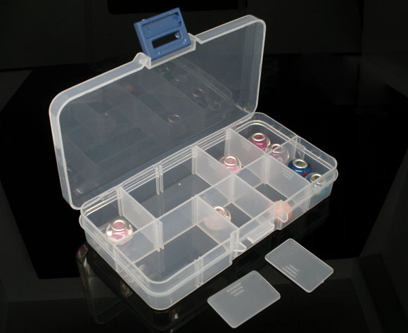 Practical Adjustable Plastic 10 Compartments Storage Box Case For Beads Rings Jewelry Display Organizer