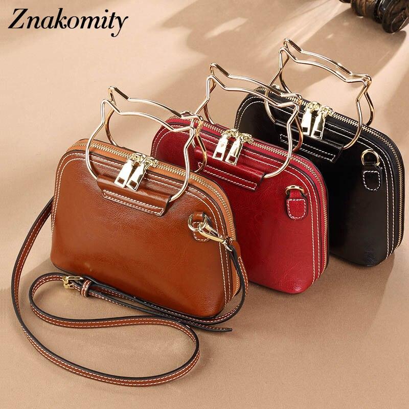 Znakomity small mini women shoulder messenger bag genuine leather female Shell shape real Leather crossbody bag small hand bag цена 2017