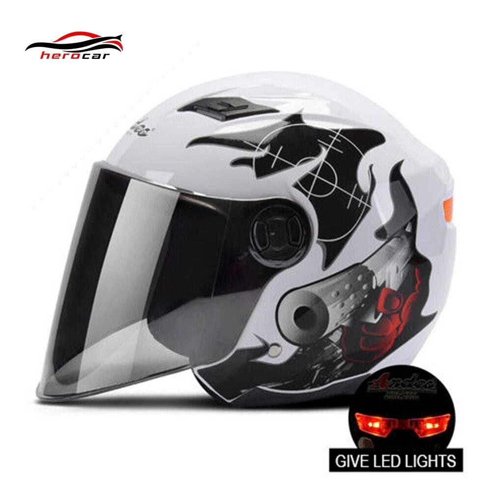 Motorcycle Helmet 3/4 Open Face Helmet Scooter Motorbiker asque Flip Up Helmet with Lens LED Light capacete Modular casco moto