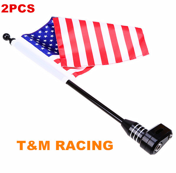1Pair/2PCS Motorcycle Rear Side Mount Luggage Rack Vertical Flag Pole American For Harley Touring Road King Glide&FLHT Motos