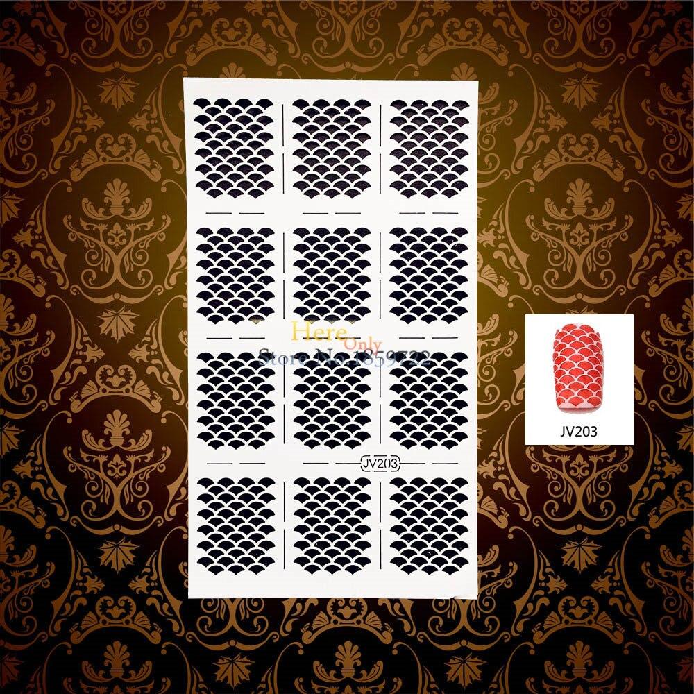1PC Fashion Nail Art Stencil Sticker Fish Scale Design Hollow Nail Manicure Stamp Template Tools HWJV203