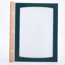 A4 menu cover 4 sheets Transparent pvc menu holder book cover 4colour  Material: PVC + Wood Edge Net weight: 0.25kg Pages: 4 pag