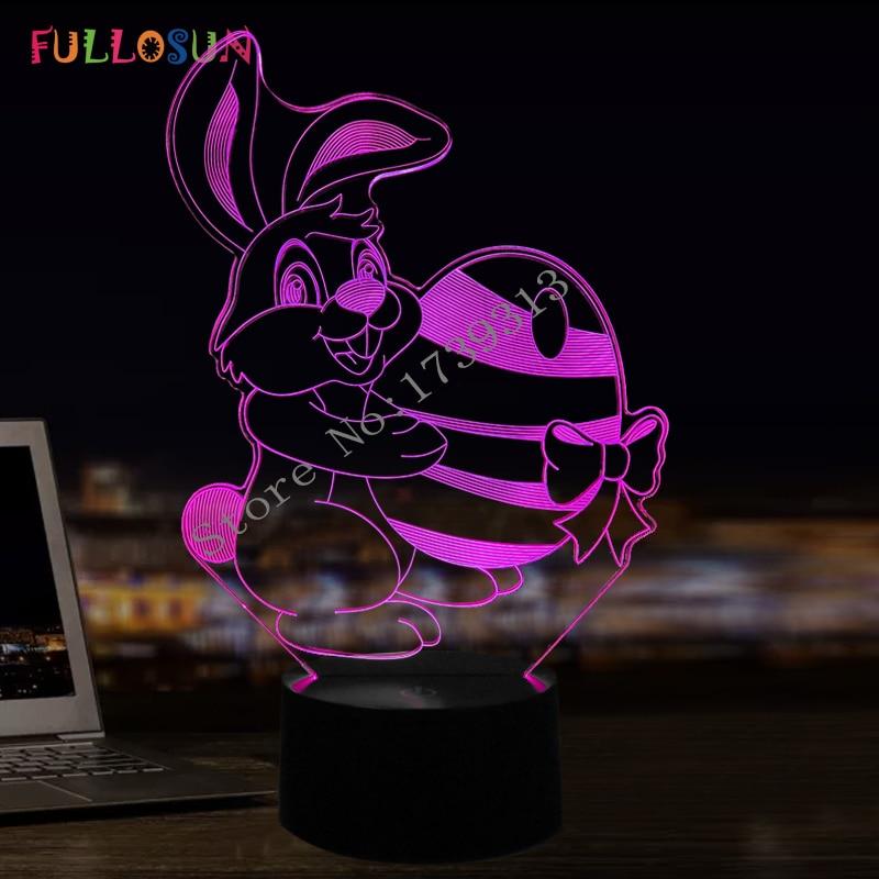 Baby Bedroom LED Night Lights Lovely Rabbit Lamp 7 colors Lights for Baby Girl Boy Easter Gift