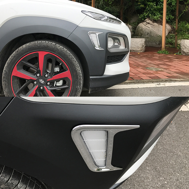 JY 2PCS ABS Side Marker Light Cover Car Styling Cover Accessories  For Hyundai Kona 2017 2018