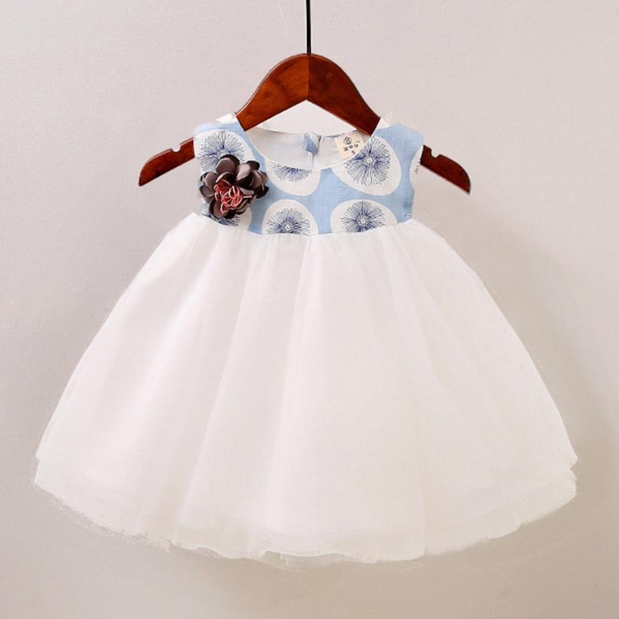 Toddler Baby Girls Floral Printed Spliced Dress Layered Tulle Tutu Casual Dress 0413