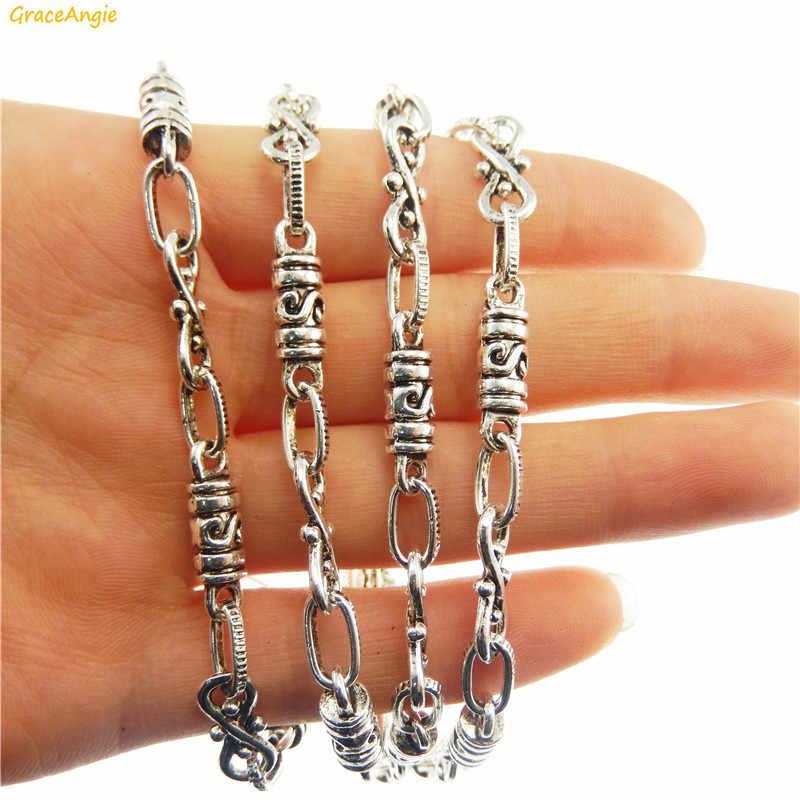 GraceAngie 1 piezas antiguo Collar de plata decoración de Metal de aleación de Zinc de la cadena de los hombres y las mujeres estilo Punk DIY joyería encontrar accesorio