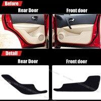4pcs Fabric Door Protection Mats Anti Kick Decorative Pads For Nissan Qashqai 2008 2012