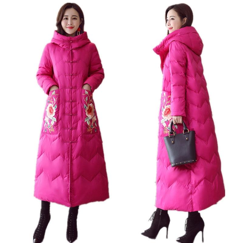 Winter Jacket Women   Parka   Coat Slim Hooded Down Cotton Long Jacket Elegant Warm Thicken Plus Size Ladies Winter Coat   Parka   Q1014