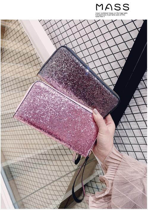 European and American style Leather Wallet Women Glitter Sequin Wallets Fashion new Money Purse solid color Credit Card Bags dollar price new european and american ultra thin leather purse large zip clutch oil wax leather wallet portefeuille femme cuir