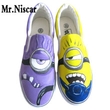 Low Top Slip-On Breathable Flat Shoe Anime Figure Minion Hand Painted Canvas Shoes Men Women Despicable Me Minions Shoes