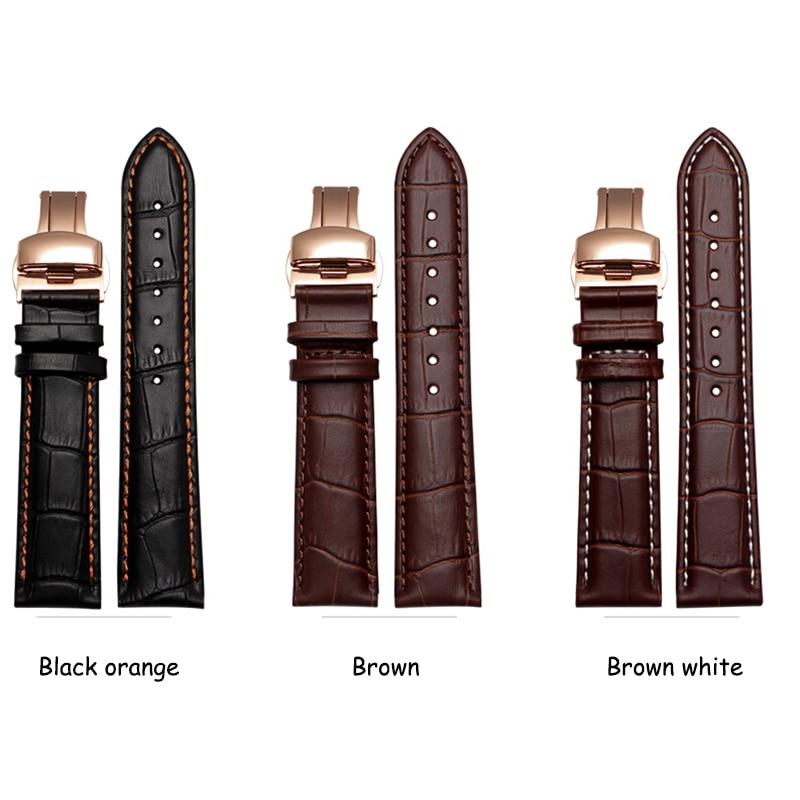 Correa de reloj de cuero genuino de calidad 14 mm 16 mm 15 mm 17 mm 18 mm 19 mm 20 mm 21 mm 22 mm 24 mm correa de cuero de repuesto para hombre
