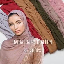 Цельный женский однотонный креп шифон хиджаб шарф Обертывания Мягкие Длинные ислам мусульманские платки crinkle шифон шарфы хиджабы