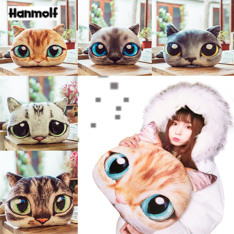 Toys & Hobbies Precise Big Eyes Cat Head Plush Pillow Stuffed Round Pets Pillow Sofa Chiar Decor Kids Adults Birthday Gift 38cm/48cm Stuffed Animals & Plush
