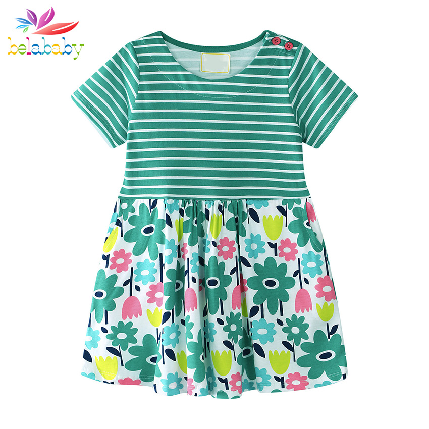 Belababy Summer Baby Girls Dresses 2018 New O-Neck Short Sleeve Printed Cotton Striped P ...