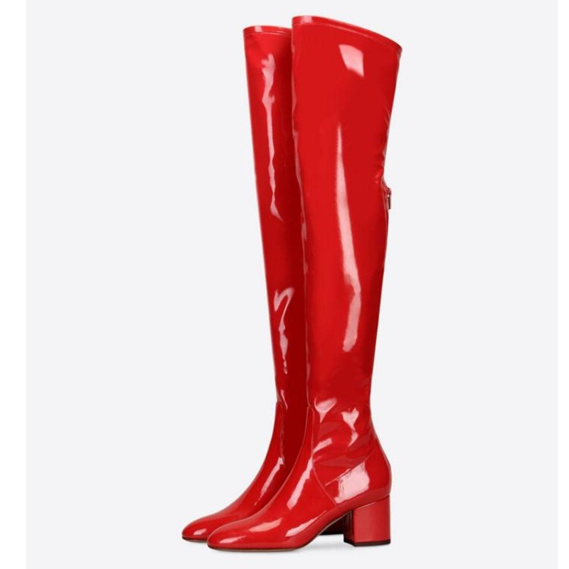 Charming Red Boots Thigh Patent Leather Long Boots Low Chunky Heels Over-The-knee Shiny Matte  Women Boots Zipper Party ShoesCharming Red Boots Thigh Patent Leather Long Boots Low Chunky Heels Over-The-knee Shiny Matte  Women Boots Zipper Party Shoes