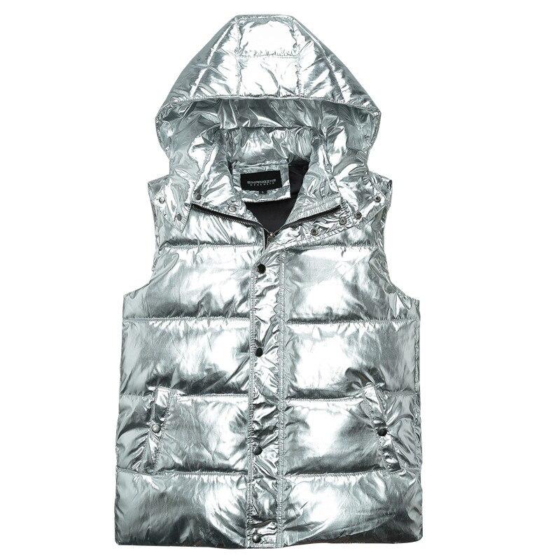 MORUANCLE mode hommes brillants gilets coton doublé épais thermique gilet pour homme métallisé enduit argent sans manches veste