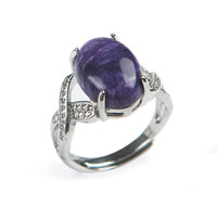 Free Shipping Genuine Natural Puple Charoite Gem Stone 925 Sterling Silver Jewelry Adjustable Rings For Women