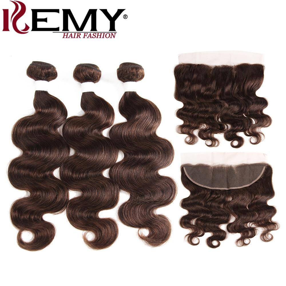 Medium Brown Body Wave Human Hair Bundles With Frontal 13*4 KEMY HAIR Brazilian Non Remy Human Hair Weave Bundles 3/4 PCS Hair