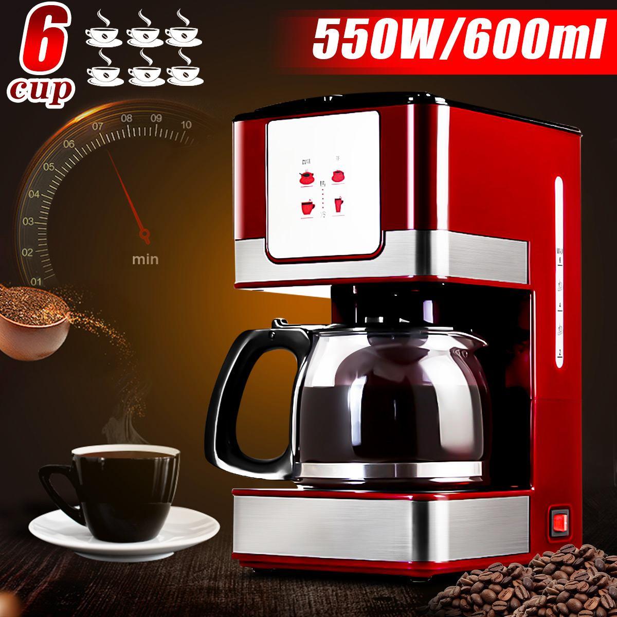 Becornce 6 Cups 600ML Coffee Tea Machines Household Office American Style Drip Tea/Coffee Making Machine Coffee Machine 550W