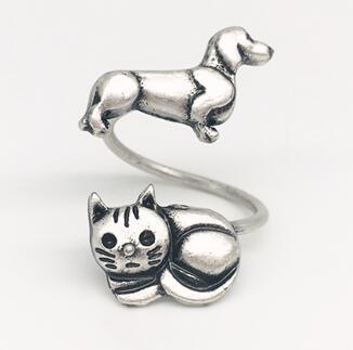 Новый дизайн милый Кот кольцо Винтаж серебро sausage собаки животные щенка прекрасный такса из металла латунной костяшки Кольца женщины подар...