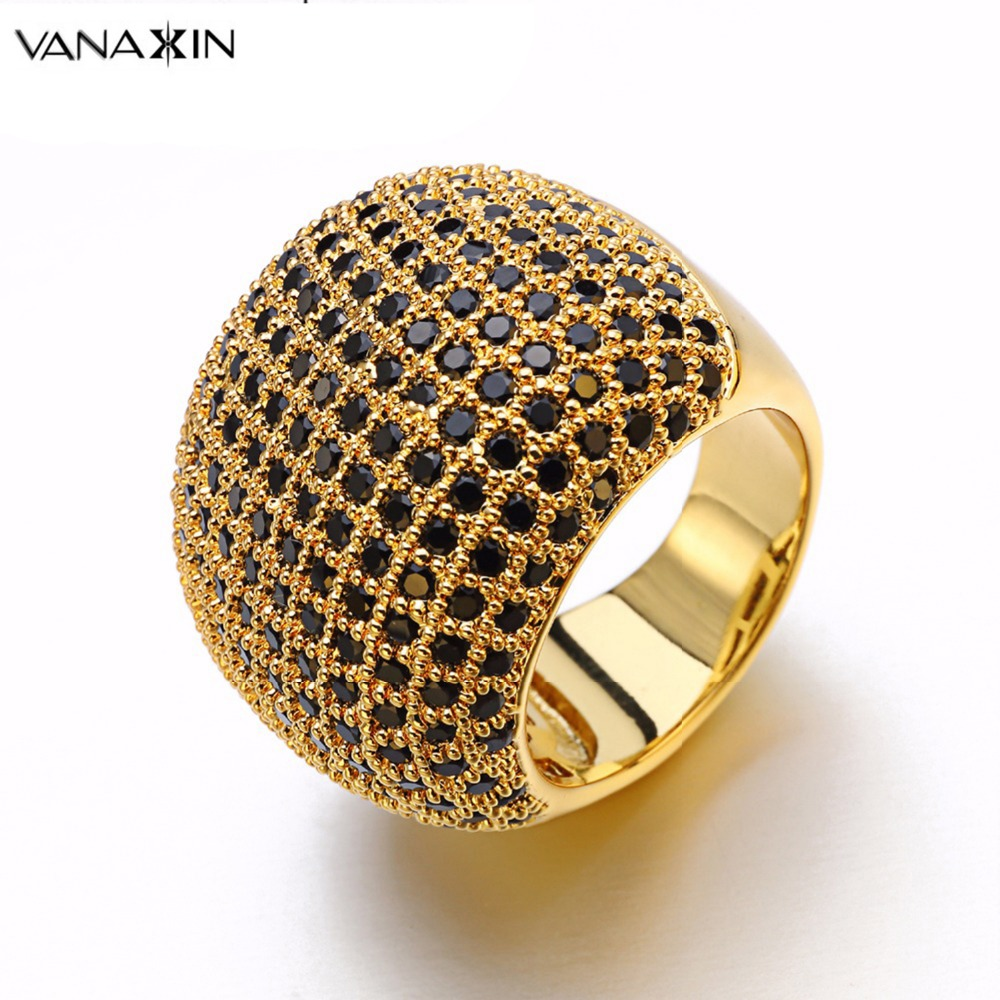 VANAXIN Paved Wide Ring White Inlay CZ High Quality Men Brass Rings Engagement Wedding Crystal Shiny