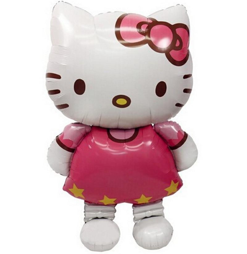Grande Taille Bonjour Kitty Chat Feuille Ballons De Bande Dessinée D'anniversaire Décoration Décoration De Noce ballons Gonflables Jouets Classiques 116x68 cm