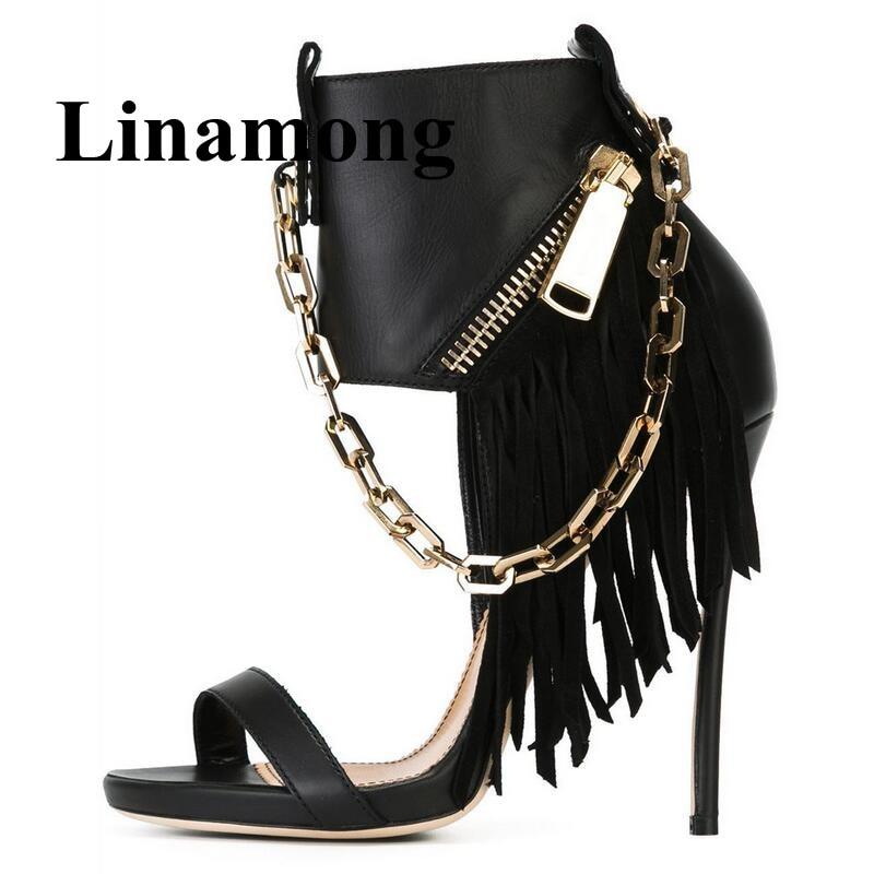Обувь с бахромой; женская модная обувь с металлической цепочкой и боковой молнией; пикантные летние женские босоножки на тонком высоком каб
