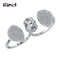 Kinel Luxury Cubic Zirconia Fashion Ring For Women Silver Color Double Finger Exaggerated Ring Wedding Jewelry