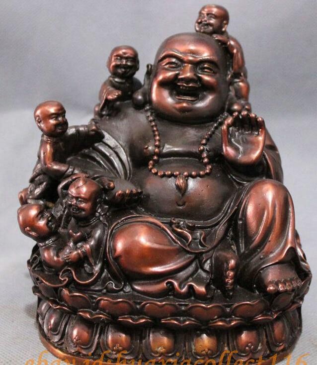 $ $ Chinese Pure Bronze Buddhism 5 Kid Child Happy Laughing Maitreya Buddha Statue statue statues buddha statue bronze - title=