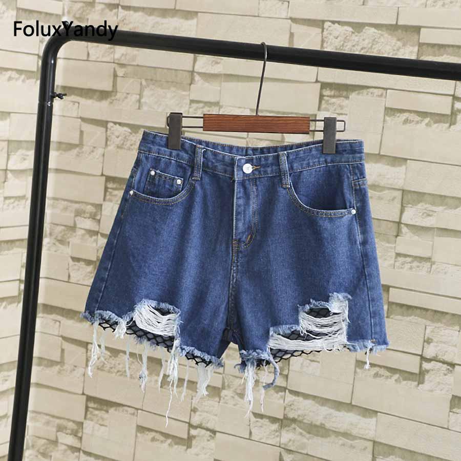 Loose Summer Denim Shorts Women Plus Size 3 4 5 XL Fashion Hole Mesh Jeans Shorts Blue White Black SWM327