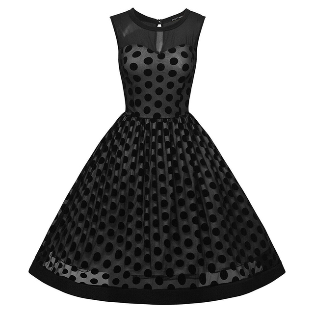 Sisjuly Vintage dresses Dot Summer Elegant Sleeveless party Dresses Black Color Polka Dots sleeveless o-neck 1950s vintage Dress