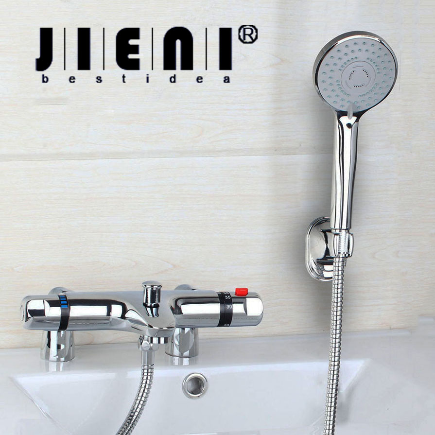 BEST Deck Mounted Tub Thermostatic Faucet 97167-18 Modern Bathroom Bathtub Shower Faucet Set with Handheld Shower Chrome Brass free shipping polished chrome finish new wall mounted waterfall bathroom bathtub handheld shower tap mixer faucet yt 5333