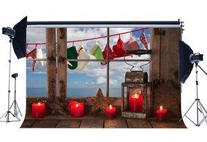 Image 1 - Photography Backdrop Christmas Stocking Wood Star Vintage Window Lantern Candles Xmas Backdrops Happy New Year Background