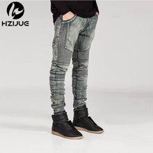 Hzijue herren biker jeans motorrad slim fit gewaschen gelb schwarz grau blau moto denim dünne elastische hosen jogger für männer jeans