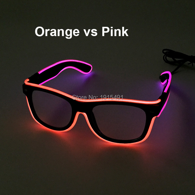 Brand Design Easter Day Decor Glittery Electroluminescent Wire Sunglasses Holiday Lighting Neon Cold Light Glasses as Present