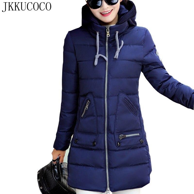 JKKUCOCO Горячая Большой размер XL-7XL Женская хлопковая куртка Толстая теплая хорошо зимняя куртка женская парка с карманами с капюшоном зимнее ...