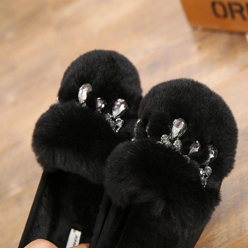 Delle Rex Zapatos Appartamenti Coreano Piselli Nero verde Signore Dell'esercito Marchio Di Flessibile Del Per Caldo Solid cachi Lusso Pendente Il Cristallo Mocassini Ceco Cucire Coniglio Scarpe Cotone Y17qIWPw