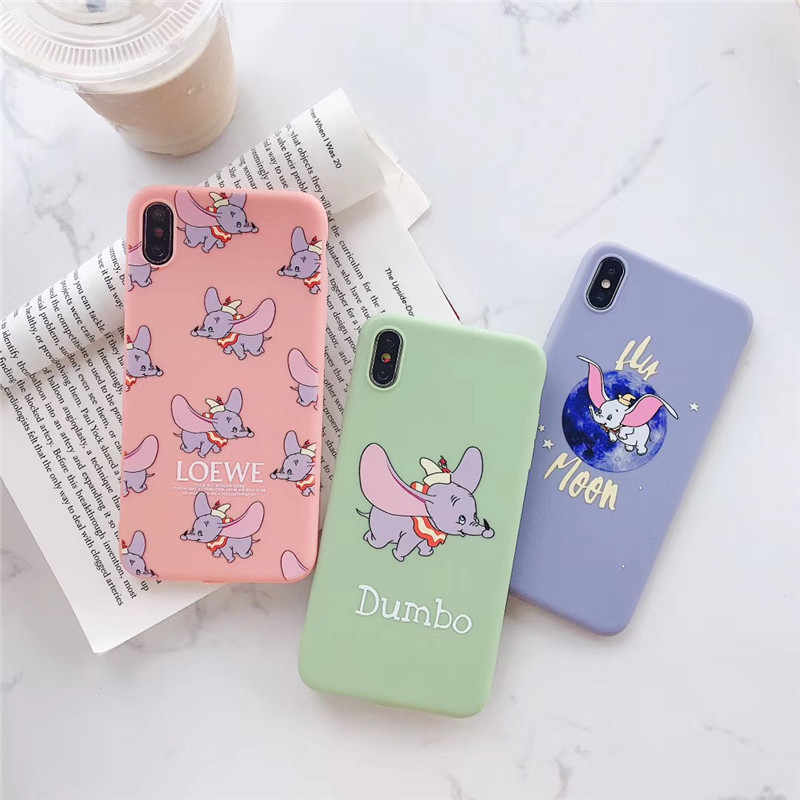 Cute Cartoon Dumbo elephant Blue-ray Disneys Doll Silicon TPU Phone Case For iPhone X Xs Max Xr 10 8 7 Plus 6 6s Cover Fundas