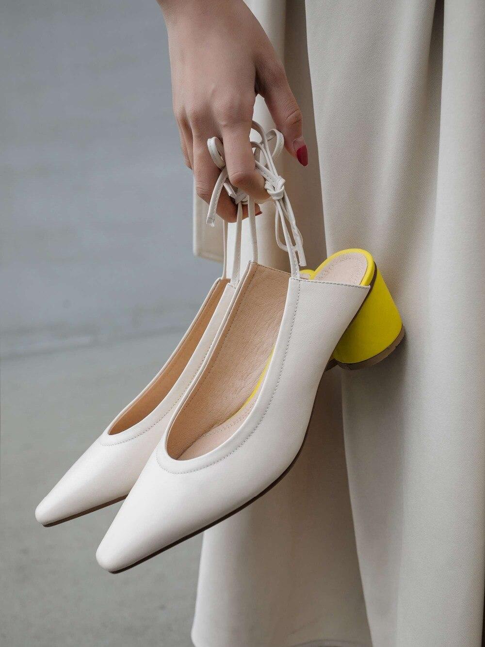Krazing หม้อ sweet elegant lady slingback ศิลปะสแควร์ toe รอบรองเท้าส้นสูง lace up movie star รันเวย์แฟชั่นผสมสีรองเท้า l9f8-ใน รองเท้าส้นสูงสตรี จาก รองเท้า บน   2