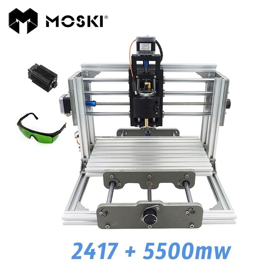 MOSKI, 2417 + 5500 mw, macchina per incisione diy, mini PcbPvc Fresatrice, Metallo macchina Sculture In Legno, 2417, grbl controllo