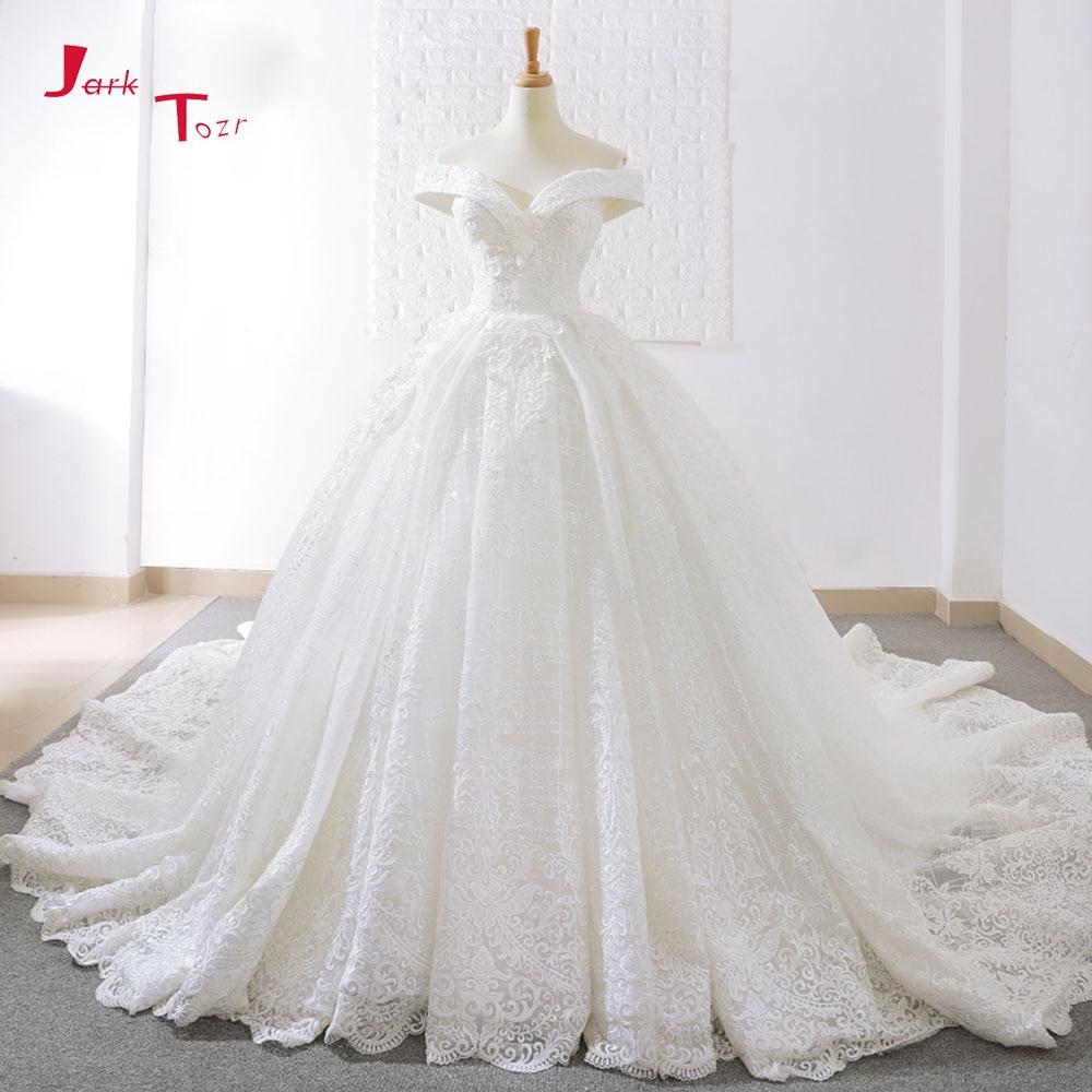 Jark Tozr 2018 Nouvelle Arrivée Outre De L'épaule À Manches Courtes Magnifique Princesse robe de Bal Robes De Mariée Robes De Noiva Princesa