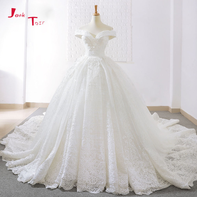 Jark Tozr New Arrive Off The Shoulder Short Sleeve Gorgeous Princess Ball Gown Wedding Dresses Vestidos De Noiva Princesa