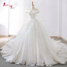 Jark Tozr فساتين زفاف رائعة بأكمام قصيرة مكشوفة الكتف ، فساتين زفاف Vestidos De Noiva Princesa